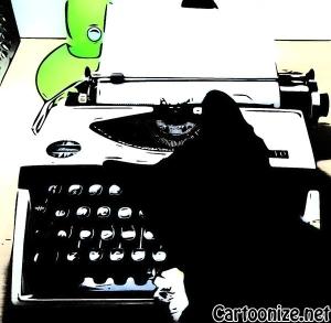 typing kitten cartoon